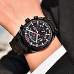 BENYAR Brand Multifunction Chronograph Mens Watches Military leather Waterproof Quartz Black Sport Watch Relogio Masculino
