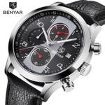 BENYAR Chronograph Sport Watches Men Waterproof Brand Retro Leather Quartz Watch Clock All dials work support dropshipping grey