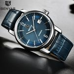 Benyar Fashion Blue Men Watch Automatic Mechanic Watches Mens Top Brand Luxury Genuine Leather Band Simple Wriswatch Men Clock