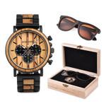 BOBO BIRD Polarized Sunglasses UV400 Metal Wood Men Watch Chronograph Wristwatch Calendar Timepiece Logo Customize