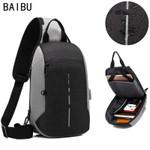 BAIBU NEW Multifunction Chest Pack Men Casual Shoulder Crossbody Bag USB Charging Chest Bag Water Repellent ipad Messenger Bag