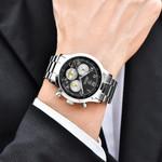 BENYAR Luxury Brand Chronograph Men Sports Watches Waterproof Full Steel&Leather Quartz Men's Watch Relogio Masculino