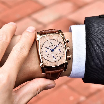 BENYAR Luxury True six-pin Quartz Watch Classic Rectangle Case Sports Chronograph Men's Watches Rose Gold erkek kol saati