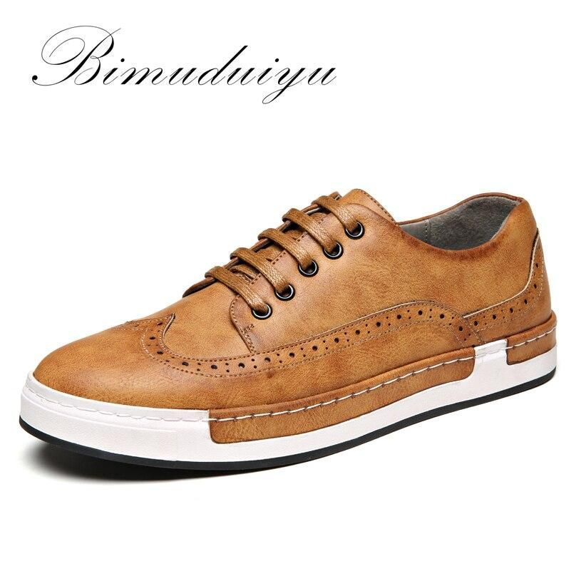 BIMUDUIYU Luxury Brand Leather Shoes Flats Sneakers PU leather Bullock Men Casual Shoes British Lace-Up Oxford Shoes For Men