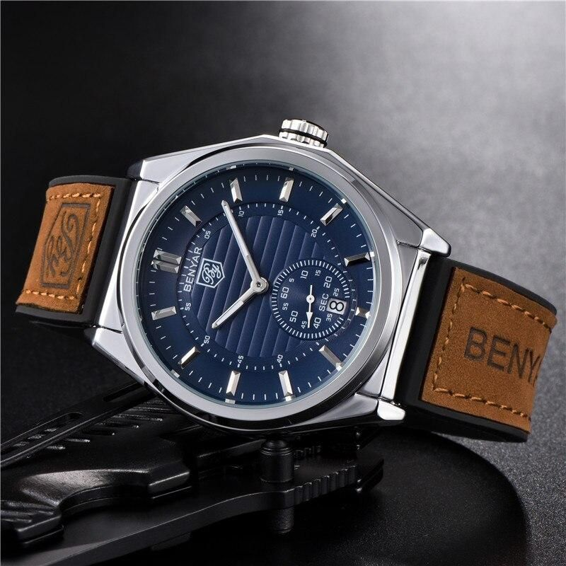 BENYAR Men Watch Top Brand Luxury Waterproof Military Army Male Clock Sport Business Leather Wristwatch relogio masculino 5125