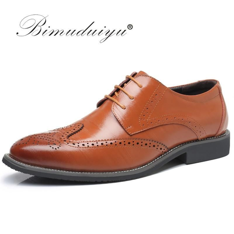 BIMUDUIYU Luxury Leather Lace Up Modern Men's Business Dress Brogue Shoes Party Wedding Suit Formal Footwear Male Dress Shoes