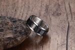 Black Spinner Roman Numerals Stainless Steel Rotatable Men's Rings
