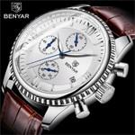 BENYAR Men's Watch Fashion/Sport/Quartz Watch Men Wristwatch Mens Clock Top Brand Luxury Leather Watches Men Relogio Masculino