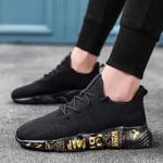 BomKinta Gold White Lightweight Casual Shoes Men Fly Weave Sneakers Men Plus Size 46 Walking Men Shoes Graffiti Male Footwear