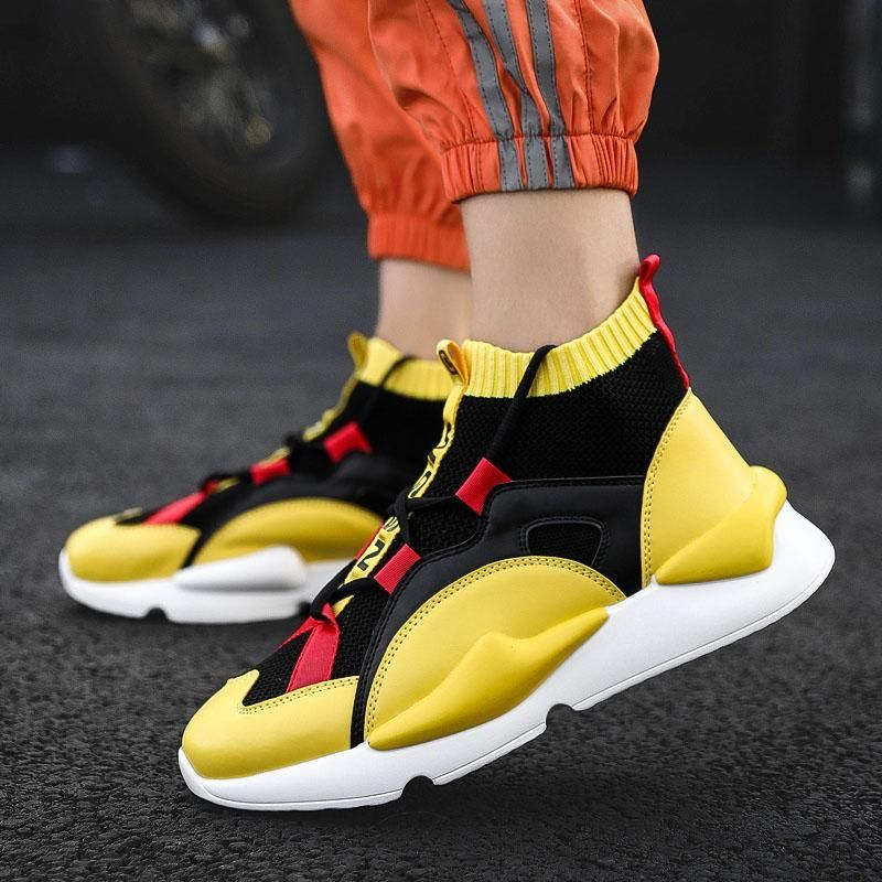 BomKinta Mens Autumn Winter Sneakers High Top Brand Men Casual Shoes Fashion Yellow Products Breathable Stretch Sock Shoes Men