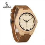 BOBO BIRD WA31A32 Bamboo Wooden Watches for Men Women Number Scales Leather Band Lovers Quartz Watch