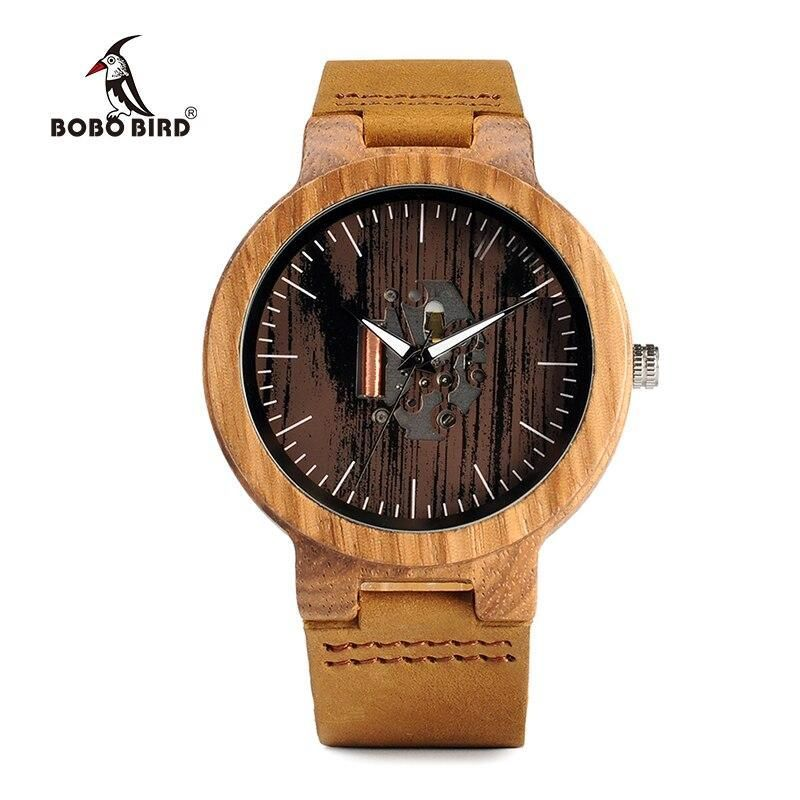 BOBO BIRD Watch Men Real Leather Band Wooden Quartz Wooden Watches Mens Wristwatch Great Men's Gift relogio masculino W-H29