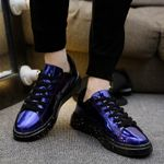 BomKinta Shine Silver PU Leather Casual Shoes Men Bling Luxury Designer Moccasins Men Brand Sneakers Glossy Men Drive Shoes