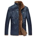Brand Men Fur Lined Leather Jackets Overcoats Plus Size 8XL Russian Winter Warm Mens Leather Fur Jacket Coats Vintage Style C036