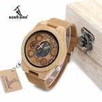 BOBO BIRD WB09 Exposed Movement Design Bamboo Wood Quartz Watches Real Leather Straps Skeleton Watch in Wooden Gift Box OEM