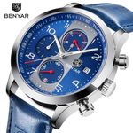BENYAR New Fashion Chronograph Sport Watches Men Leather Strap Brand Quartz Blue Watch Clock Relogio Masculino Reloj Hombre