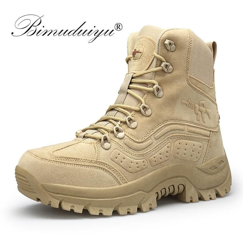 BIMUDUIYU Winter Autumn Men Military Boots Quality Special Force Tactical Desert Combat Ankle Boats Army Work Shoes Snow Boots