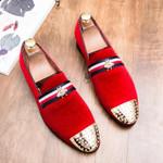 Brand Men Loafers Shoes Rivets Casual Shoes Men Designer Pointed Toe Velvet Loafers Slip On Party Flat Shoes Man Footwear