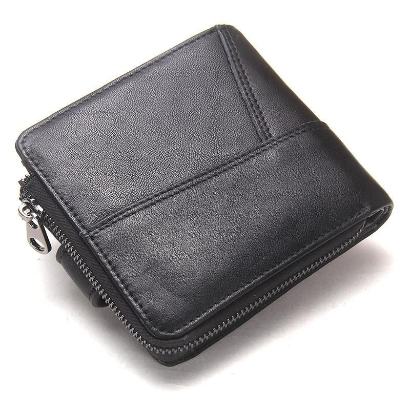 Black Wallet  Design Genuine Leather Men Wallets Coin Pocket Short Purse Casual Famous