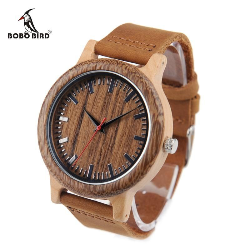 BOBO BIRD WM14 Wenge Wooden Watch for Men Cool Maple Wood Quartz Watches in Gift Box