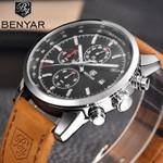 BENYAR Watches Men Top Luxury Brand Chronograph Sport Man Watch Military Leather Clock Quartz Wristwatch Relogio Masculino 5102