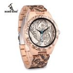 BOBO BIRD WO07 Pine Wooden Quartz Watches for Men UV Printing Tattoo Watch In Wood Box With Tool For Adjust Size Dropshipping