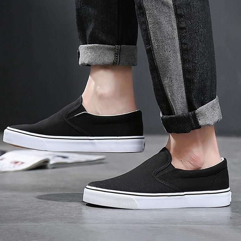 Black White Solid Men Casual Shoes Simple Canvas Mens Loafers High Quality Anti-Slip Comfortable Vulcanized Shoes Man Flats