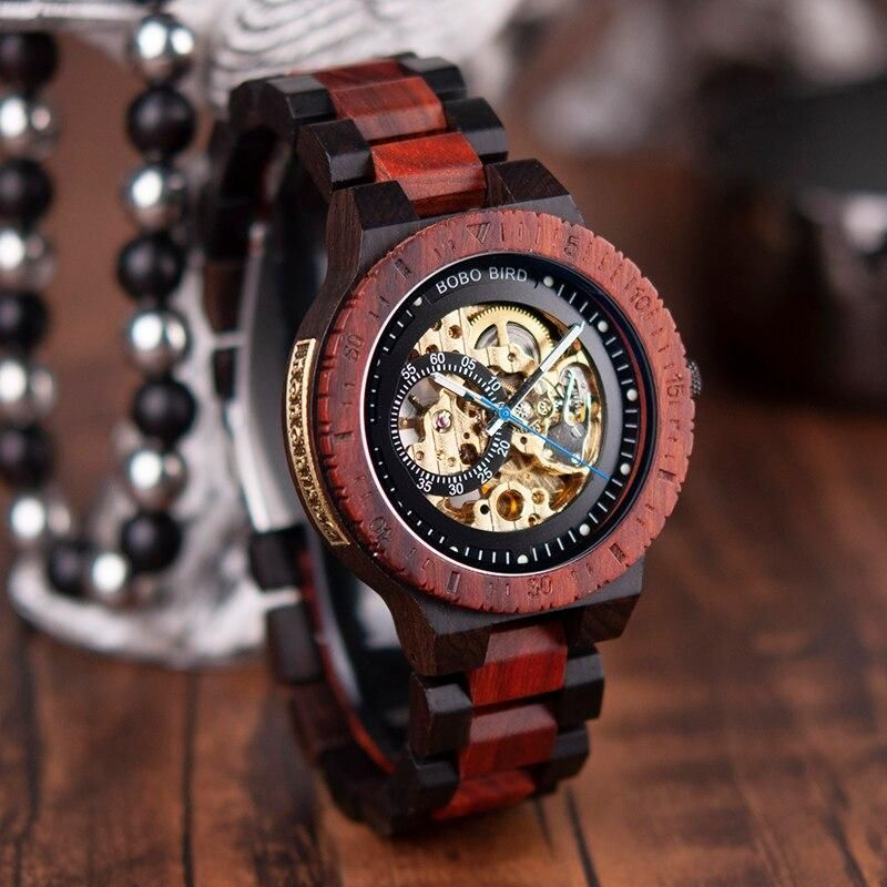 BOBO BIRD Wooden Mechanical Watch Men Luxury Retro Design Case With Gold Label Beside Automatic and Multi-Functional Wristwatch
