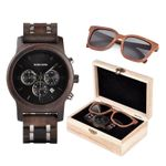BOBO BIRD Wooden Watches Men Sunglasses in Suit Present Box Gift BoxQuartz Wristwatch Male Stopwatch saat erkek Timepieces