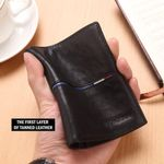 BISON DENIM Brand Genuine First Layer Leather Short Wallet Business Classic Purse Men's Wallet Cards Holder Casual Purse N4437-2