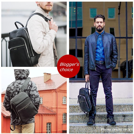 BISON DENIM Genuine Leather Backpack Male 14 inch Laptop Backpack Travel Backpack Male Fashion Backpack Schoolbag For Men N2337