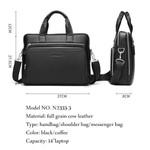 """BISON DENIM Genuine leather Briefcases 14"""" Laptop Handbag Men's Business Crossbody Bag Messenger/Shoulder Bags for Men N2333-3"""