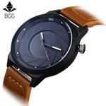 BGG Luxury Brand Casual Mens Watches Creative Black leather Quartz Watch Men male simple Wristwatch Business clock Hours relojes