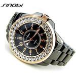 Bling Rhinestone SINOBI Luxury steel Quartz Watch Women Clock female Ladies Dress Wristwatch Gift Silver Gold relojes mujer