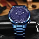 BIDEN Brand Luxury Fashion Casual Quartz Watch Photographer Series Unique Camera Waterproof Stainless Steel Men's Watches Blue