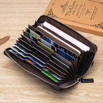 BISON DENIM Real Cow leather Men Wallets Genuine Leather Long Purse For Men RFID Zipper Large Capacity Card Holder Purse N8226