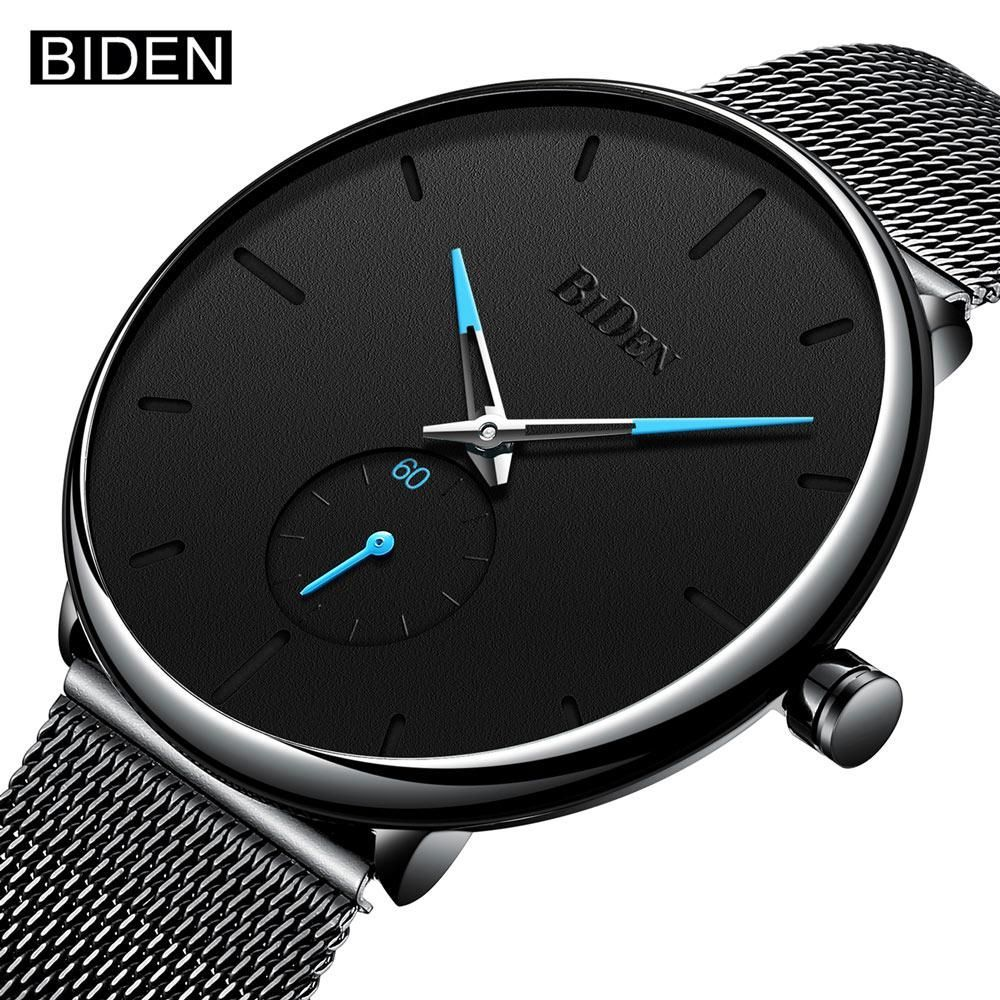 BIDEN Top Brand New Fashion Quartz Watches Men Casual Stainless Steel Mesh Strap Ultra Tin Wrist Watch Male Clock