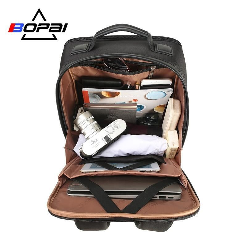 BOPAI USB Charge Backpack Men Leather for Travelling Fashion Cool School Backpack Bags for Boys Anti Theft laptop backpack