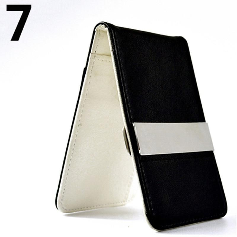Bifold Men Leather Money Clip Slim Wallet ID Credit I Clip Cash Holder Retro Brand Multi-slot Men's Money Case