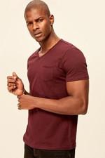 Bordeaux Presser Men's T Shirt   Slim Fit Short Sleeve V Neck Pocket Detail TMNSS19BO0003