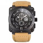 Aviateur Luxury Date Square Men Quartz Casual Watch Army Military Sports Watch Men Watches Male Leather Clock