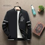 BOSIBIO Spring Summer Jacket Men Stand Collar Fashion Thin Zipper Coat Male Slim Print Baseball Jacket Bomber M-4XL LH-5