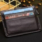 Baborry Coffee RFID Theft Protect Card Holder Genuine Leather Man Mini Credit Card Wallet Purse  Men Wallet Thin Small