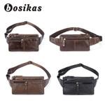 BOSIKAS NEW Genuine Leather Waist Packs Leather Bag Belt Men Phone Pouch Bags Zipper Travel Waist Pack Vintage Male Waist Bag