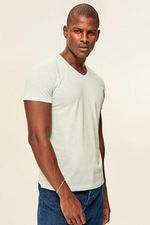 Blue Men's T Shirt Presser   Cotton V Neck TMNSS19BO0002