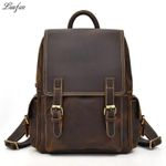Big Capacity Men Crazy Horse Leather Backpack genuine cow leather Laptop rucksack daypack school backpack bags
