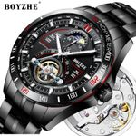 BOYZHE Automatic Mechanical Men Watch Fashion Top Brand Sports Watches Tourbillon Moon Phase Stainless Steel Relogio Masculino