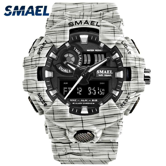 Men Watch Waterproof SMAEL Sport Watches Stopwatch Chronograph Wristwatches 8001 Watches Digital White Bracelet Watch Gift Box