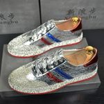 Men Hip Hop Luxury Brand Trainers shoes Runway Designer Sneakers Patent Leather red Red bottom Rubber Gold Silver Casual shoe