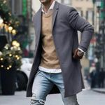 Litthing New Men Trench Coat Autumn Slim Fit Pea Wool Jacket Coat Men Long Coats Pure Color Fashion Overcoats Casaco Masculino